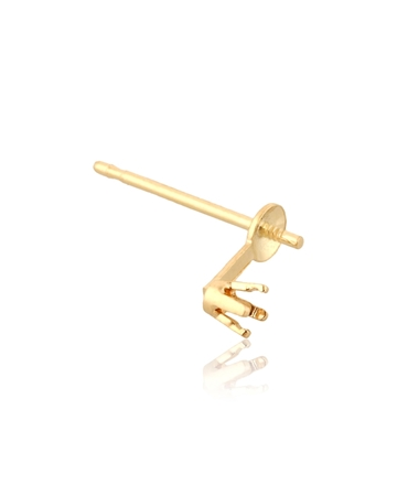 Picture of 14KY 2pt 4 prg ear w/cup and peg for 7mm pearl 80207-02FA-000