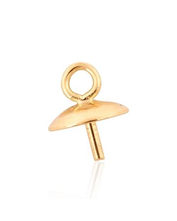 תמונה של 96905-0200-000 מחזיק פנינה זהב צהוב 5ממ עם טבעת   14K