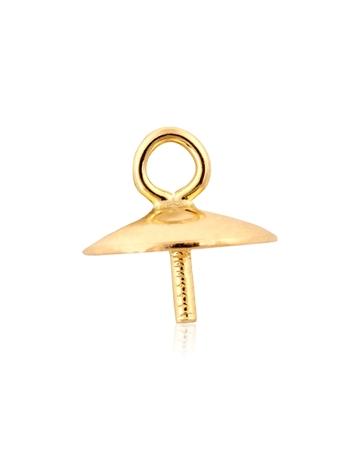 תמונה של 96906-0200-000 מחזיק פנינה זהב צהוב 6ממ עם טבעת   14K