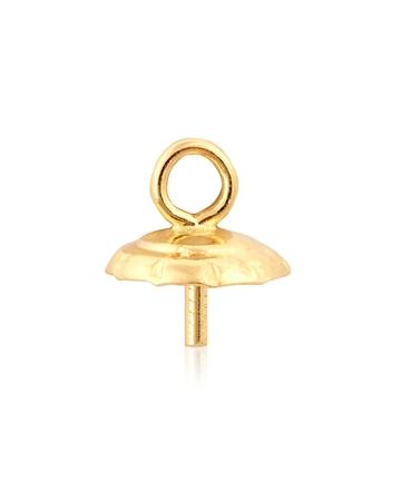 """תמונה של מחזיק פנינה זהב 14K צהוב 5מ""""מ משונן + לולאה 97005-0200-000"""