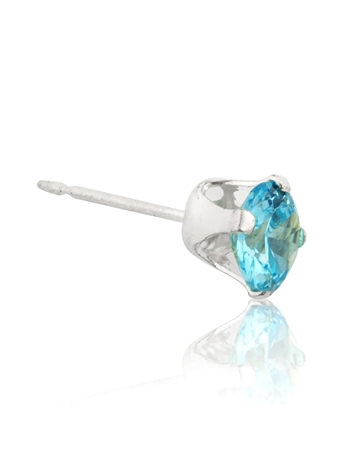 Picture of Sterling Silver 5mm Buttercup Earring +Light Blue Stone