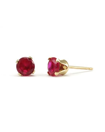 Picture of Gold Filled 5mm Buttercup Earring +Fucshia Stone