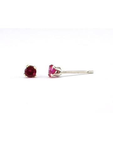 Picture of Gold Filled 3mm Buttercup Earring +Fucshia Stone