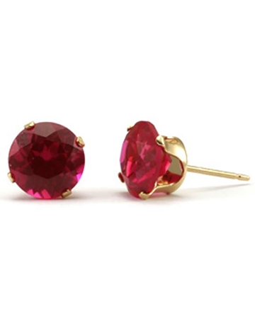 Picture of Gold Filled 8mm Buttercup Earring +Fucshia Stone