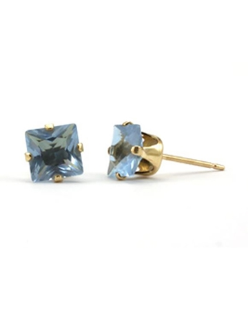 Picture of Gold Filled 6mm Buttercup Earring +Square Purple Stone