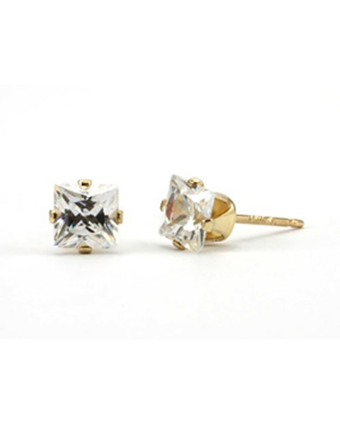 Picture of Gold Filled 5mm Buttercup Earring Set With Square Clear Zirconia Stone