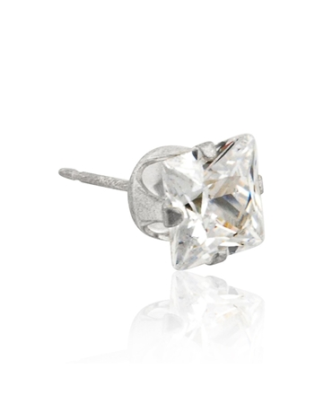 Picture of Sterling Silver 5mm Buttercup Earring +Square Zirconia