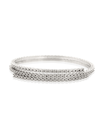 Picture of 18K White Gold  Double Spring Tennis Bracelet 3pt round stones