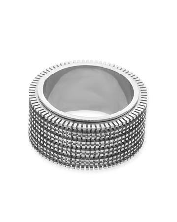 תמונה של טבעת זהב 18K לבן מסתובבת 5 שורות מידה 7 (לשיבוץ מלא - אבנים 1נק')