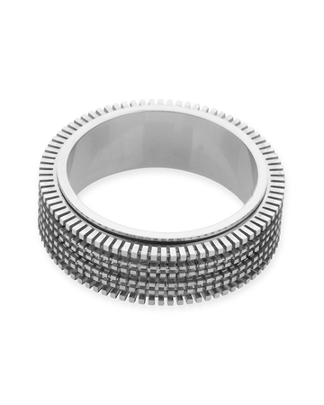 תמונה של טבעת זהב 18K לבן מסתובבת 3 שורות מידה 7 (לשיבוץ מלא - אבנים 1נק')