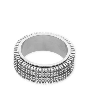 תמונה של טבעת זהב 18K לבן מסתובבת 3 שורות מידה 7 (לשיבוץ מלא - אבנים 2נק')