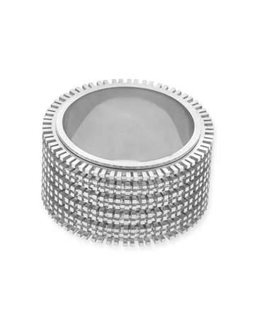 תמונה של טבעת זהב 18K לבן מסתובבת 5 שורות מידה 7 (לשיבוץ מלא - אבנים 2נק')