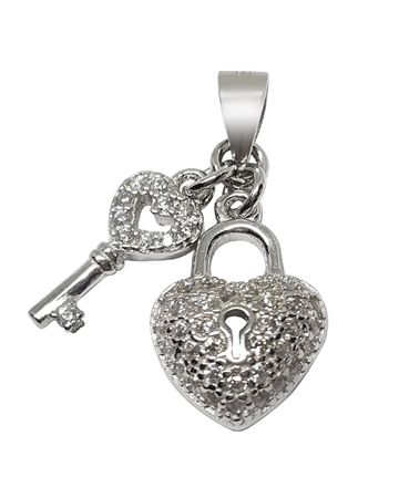 Picture of Sterling Silver Heart Zircon Pendant