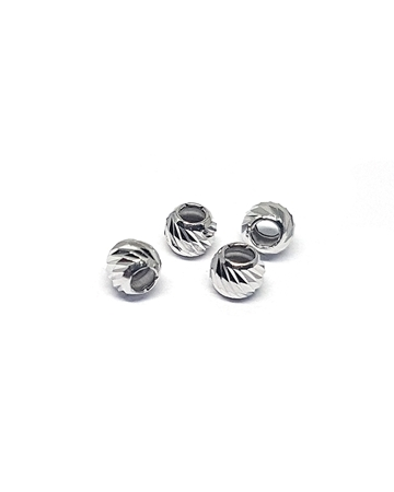 Picture of Silver Rhodium Coating 3mm Corrugated Bead Hole Size 1.5mm