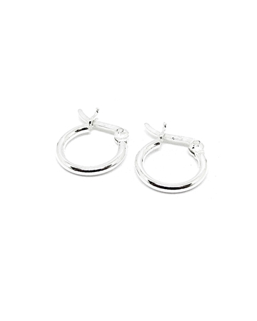 Picture of 925 Silver Tube hoop earring 12X1.5mm w/snap