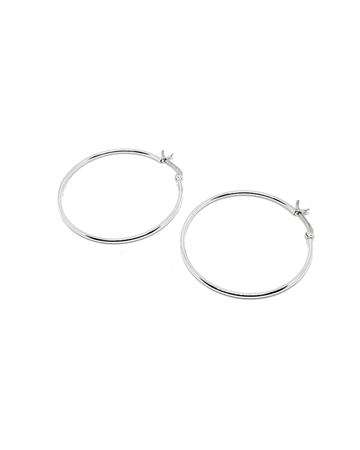 Picture of 925 Silver Tube hoop earring 40X1.5mm w/snap