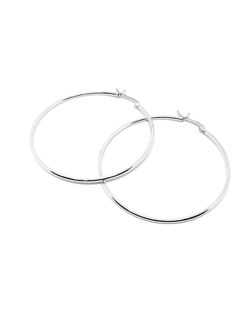 Picture of 925 Silver Tube hoop earring 50X1.5mm w/snap