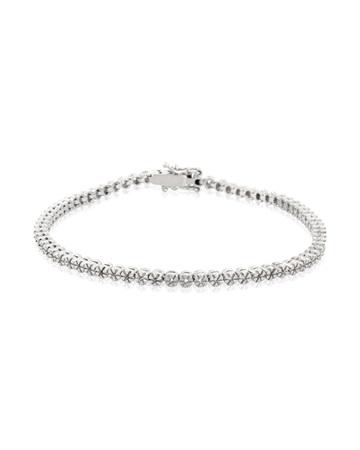 Picture of 14K White Gold Flower Tennis Bracelet  2/3pt