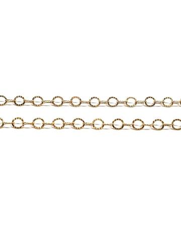 Picture of Yellow Gold Filled Rolo Hammered Flat Chain 4mm