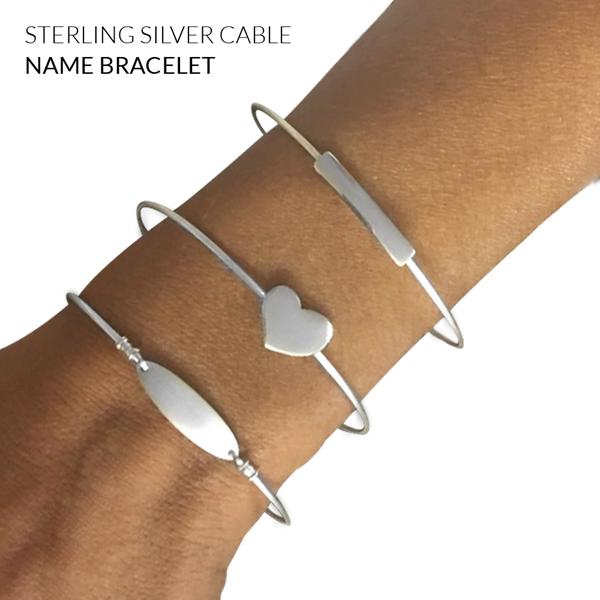 Picture of Sterling Silver 1.25mm Cable Name Bracelet