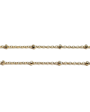 Picture of Yellow Gold Filled 1mm Flat Oval Chain With Beads