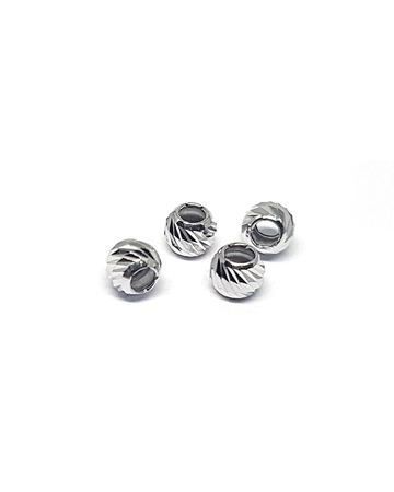 Picture of Silver Rhodium Coating 2.5mm Corrugated Bead Hole Size 1.2mm