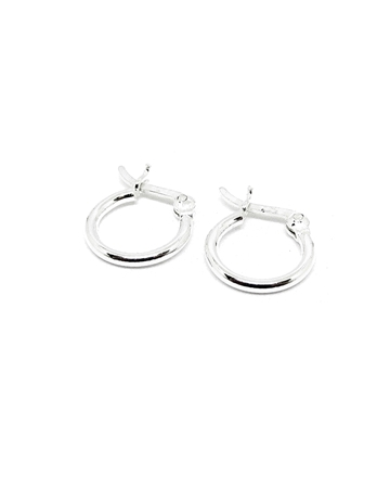 Picture of 925 Silver Tube hoop earring 10x1.3mm w/snap