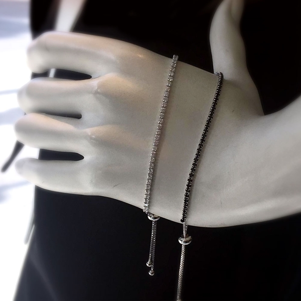 Picture of Sterling Silver tie tennis bracelet set up with Black or White Stones