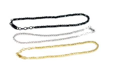 Picture of 3 Colors Sterling Silver Diamond Cut 3mm Ball Chain