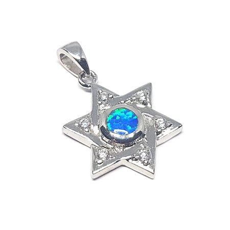 Picture of Sterling Silver Star Of David W/Blue Stone Pendant