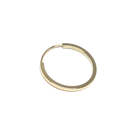 """תמונה של עגיל חישוק זהב 14K צהוב צינור מרובע עובי 1מ""""מ קוטר 14מ""""מ"""