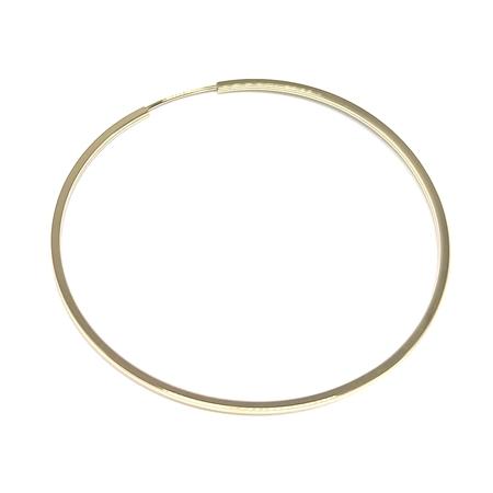 """תמונה של עגיל חישוק זהב 14K צהוב צינור מרובע עובי 1מ""""מ קוטר 40מ""""מ"""