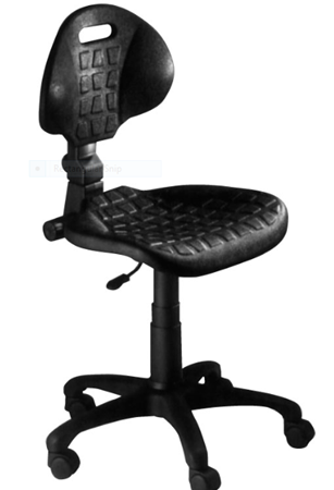 Picture of Swivel professional chair in black polyurethane with wheels-Made in Italy