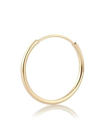 """תמונה של עגיל חישוק זהב 14K צהוב צינור עובי 1.6מ""""מ קוטר 30מ""""מ"""